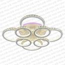 Светодиодная люстра потолочная хрустальная кругами в белом цвете фото