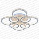 Светодиодная люстра с пультом управления хрустальная кольцами- теплый свет фото